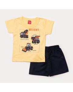 Conjunto de Verão Bebê Menino Blusa Amarela Caminhão e Short Tactel Marinho
