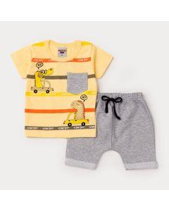Conjunto de Verão Bebê Menino Blusa Amarela Dino e Short Cinza