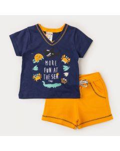 Conjunto Curto Bebê Menino Blusa Marinho Peixe e Bermuda Amarela