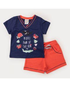 Conjunto Curto Bebê Menino Blusa Marinho Peixe e Bermuda Salmão