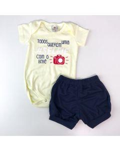 Conjunto de Verão para Bebê Menino Body Amarelo Estampado Short Marinho