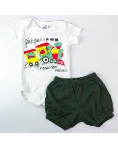 Conjunto Verão Bebê Menino Body Marfim Trenzinho e Short Verde Militar