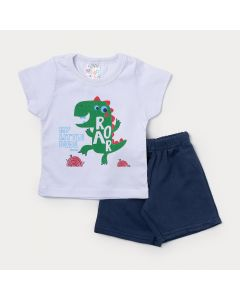 Conjunto de Roupa para Bebê Menino Camiseta Branca Dinossauro e Bermuda Azul