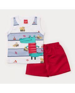 Conjunto de Verão para Bebê Menino Regata Branca Jacaré e Short Tactel Vermelho