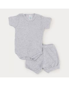 Conjunto Mescla em Ribana para Bebê Body Botão Veste Fácil e Short