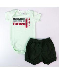 Conjunto de Verão Bebê Unissex Body Verde Fofura e Short Verde Militar