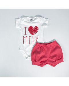 Conjunto de Verão Bebê Menina Body Marfim Coração e Short Vermelho