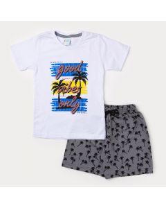 Conjunto de Verão Bermuda Masculina Cinza e Camiseta Infantil Branca Estampada