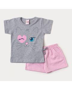 Conjunto para Menina Blusa Cinza Gatinho e Short Rosa em Moletinho