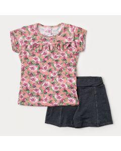 Conjunto de Verão Infantil Feminino Short Preto Blusa Salmão Floral