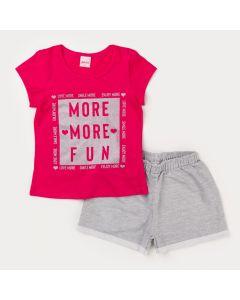 Conjunto de Verão Infantil Feminino Blusa Pink Estampada e Short Cinza