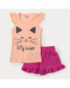 Conjunto de Verão Blusa Laranja Gatinho e Short em Cotton Pink para Menina