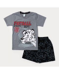 Conjunto Curto Bermuda Masculina Preta e Camiseta Infantil Cinza Tigre