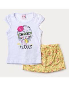 Conjunto de Verão Infantil Feminino Blusa Branca e Short Saia Amarelo Floral
