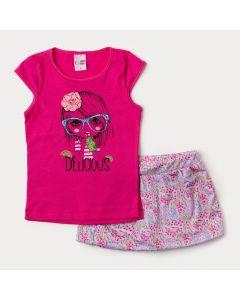 Conjunto de Verão Infantil Feminino Blusa Pink e Short Saia Lilás Floral
