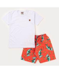 Conjunto Verão Infantil Masculino Blusa Branca e Short Laranja Tubarão