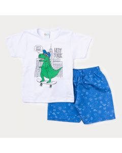 Conjunto de Roupa para Menino Blusa Branca Dinossauro e Bermuda Azul Estampada