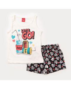 Conjunto de Verão Infantil Feminino Regata Marfim Estampada e Short Preto Corações