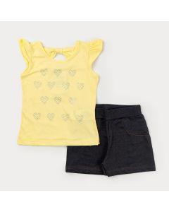 Conjunto Curto para Menina Blusa Amarela com Strass e Short Preto