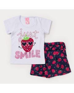 Conjunto de Verão Menina Blusa Branca Moranguinho e Short Marinho Estampado