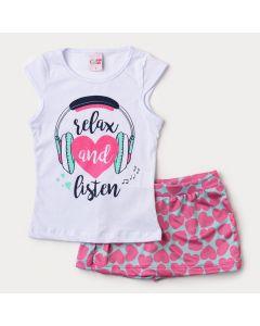 Conjunto de Verão para Menina Blusa Branca Estampada e Short Saia Verde Coração