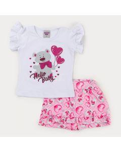 Conjunto de Verão para Menina Blusa Branca Ursinho e Short Saia Rosa