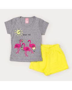Conjunto de Verão Menina Blusa Cinza Flamingo e Short Neon