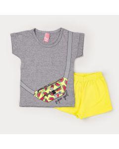 Conjunto Infantil Feminino Short Neon e Blusa Cinza Estampada