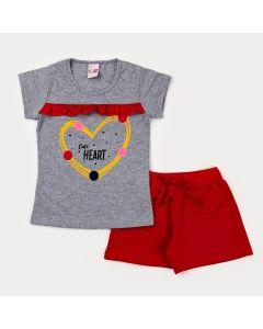 Conjunto de Verão Infantil Feminino Blusa Cinza Estampada e short Vermelho