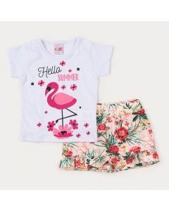 Conjunto de Verão para Menina Blusa Branca Flamingo e Short Saia Floral