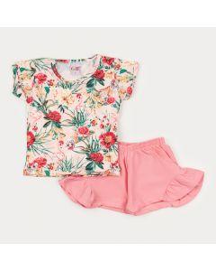 Conjunto Verão Menina Blusa Salmão Floral e Short Rosa com Babado