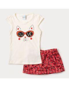 Conjunto de Verão para Menina Blusa Marfim Gatinho e Short Saia Vermelho-1