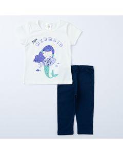 Conjunto de Verão Menina Blusa Marfim Sereia e Legging Marinho