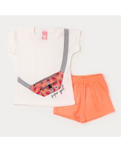 Conjunto Infantil Feminino Blusa Marfim Estampada e Short Laranja Neon