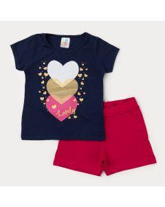 Conjunto de Verão Blusa Marinho Coração e Short Pink Infantil Feminino