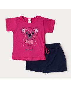 Conjunto Infantil Menina Verão Blusa Pink Coala e Short Saia Marinho em Moletinho