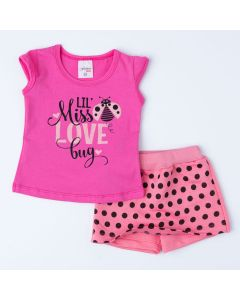 Conjunto Curto para Bebê Menina Blusa Pink Joaninha e Short Saia Rosa