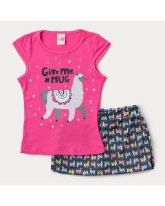 Conjunto de Verão para Menina Blusa Pink Lhama e Short Saia Preto Estampado