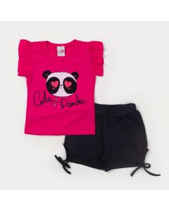 Conjunto de Verão para Menina Blusa Pink Panda e Short Preto com Laço