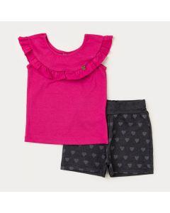 Conjunto de Verão Menina Blusa Pink com Babado e Short Preto Coração