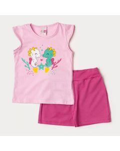 Conjunto Infantil Feminino Verão Blusa Rosa Cavalo Marinho e Short Pink