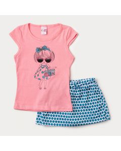 Conjunto de Verão Infantil Feminino Blusa Rosa e Short Saia Azul com Bolinhas