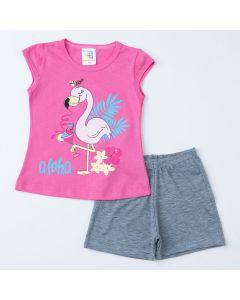 Conjunto de Verão para Menina Blusa Rosa Flamingo e Short Cinza
