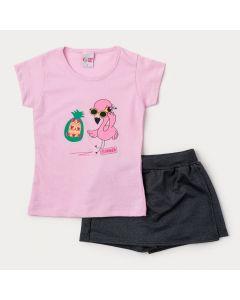 Conjunto Infantil Menina Verão Blusa Rosa Flamingo e Short Saia Marinho