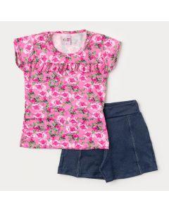 Conjunto de Verão Infantil Feminino Blusa Rosa Floral e Short Marinho