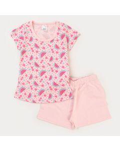 Pijama de Verão para Menina com Blusa Rosa Melancia e Short Rosa
