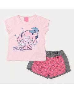 Conjunto de Verão Infantil Feminino Blusa Rosa Sereia e Short Cinza