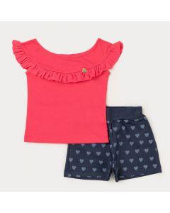 Conjunto de Verão Menina Blusa Rosa Babado e Short Marinho Coração
