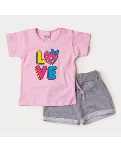 Conjunto Feminino Infantil de Verão Blusa Rosa Estampada e Short Cinza Moletinho
