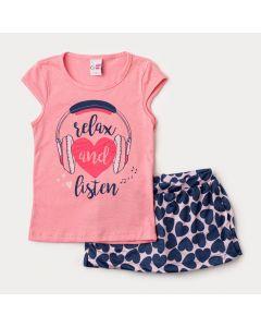 Conjunto de Verão para Menina Blusa Rosa Estampada e Short Saia Rosa Coração